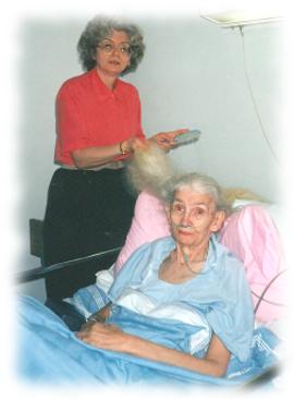 myself brushing Mom's hair in the hospital