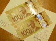 colourful Canadian $100 bills