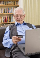 older gentleman is able to shop online too